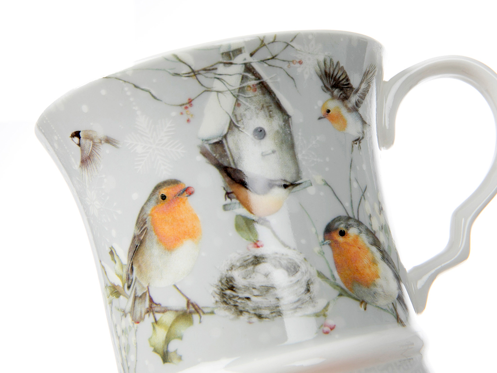 Bird Love Porselen Kupa 13x9,5 Cm Beyaz