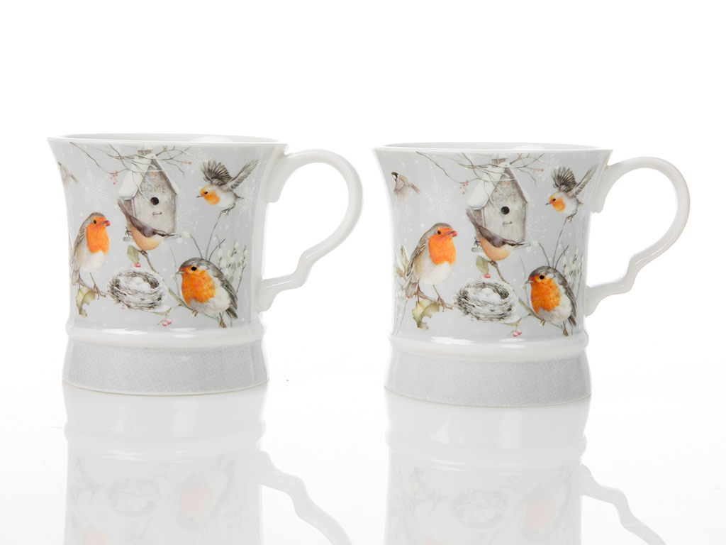 Bird Love Porselen 2'li Kupa 20,2x10x9,8 Cm Beyaz