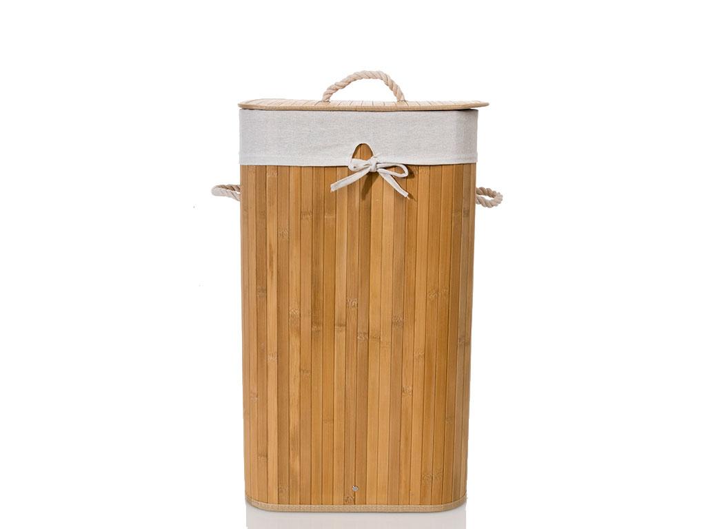 Bamboo Bambu Katlanabilir Çamaşır Sepeti 35x35x60 Cm Bej