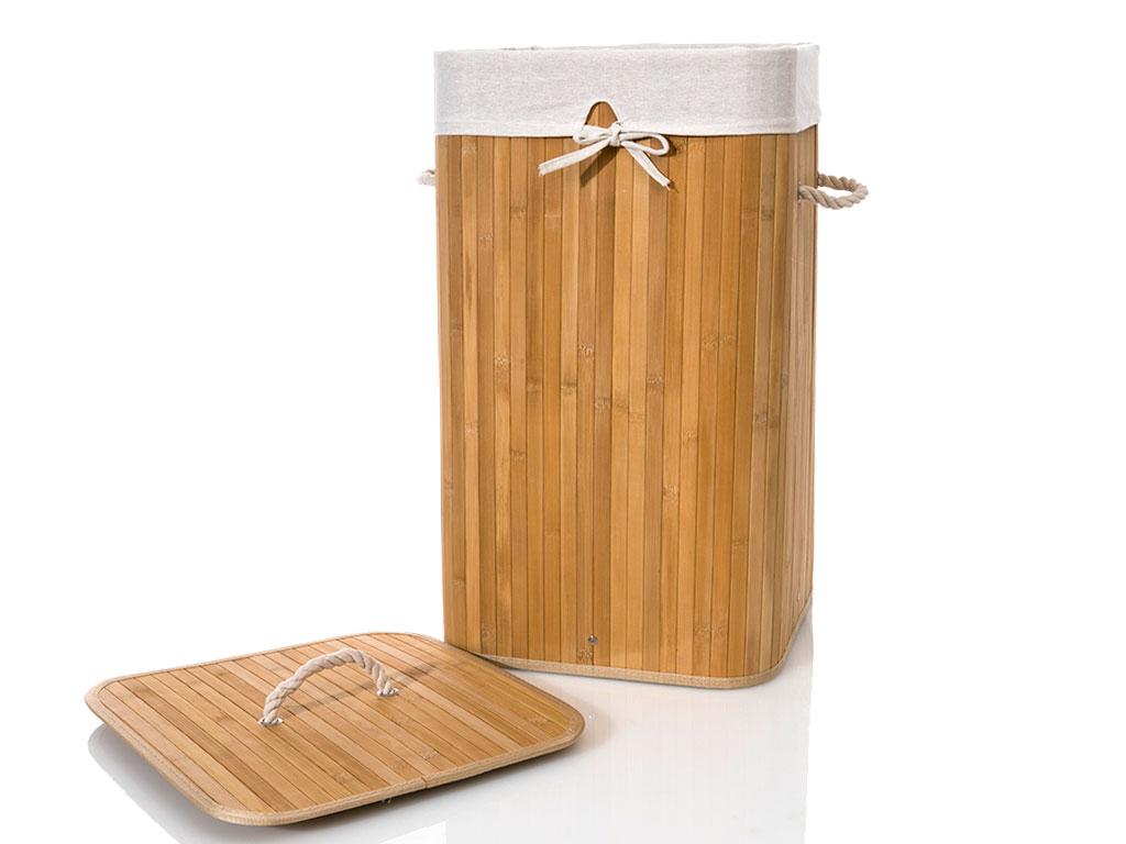 Bamboo Bambu Katlanabilir Çamaşır Sepetı 35x35x60 Cm Bej