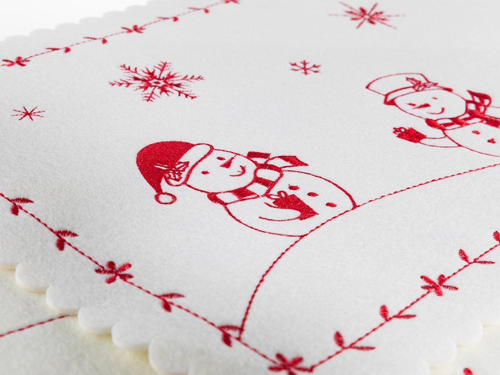Snow Holiday Keçe 2'li Amerikan Servis 30x45 Cm Kırmızı
