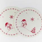 Snow Holiday Keçe 2'li Amerikan Servis 35 Cm Kırmızı