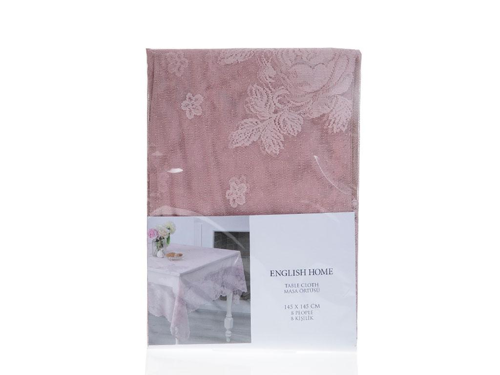 Glam Rose Örme Masa Örtüsü 145x145 Cm Gül Kurusu