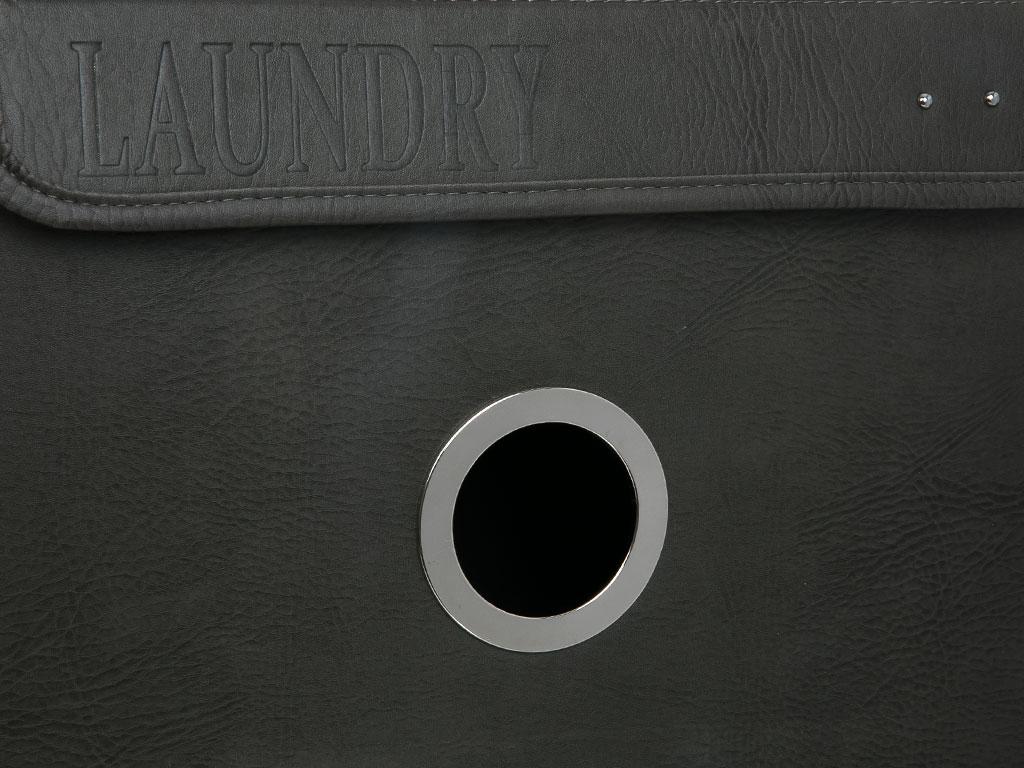 Victorian Pu Deri Çamaşır Sepetı 40x30x55 Cm Gri