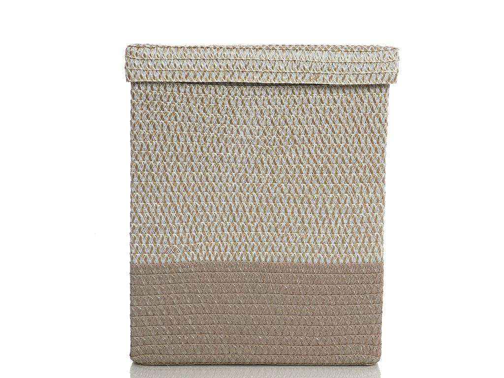 Braided Polipropilen Çamaşır Sepetı 36x27x45 Cm Bej
