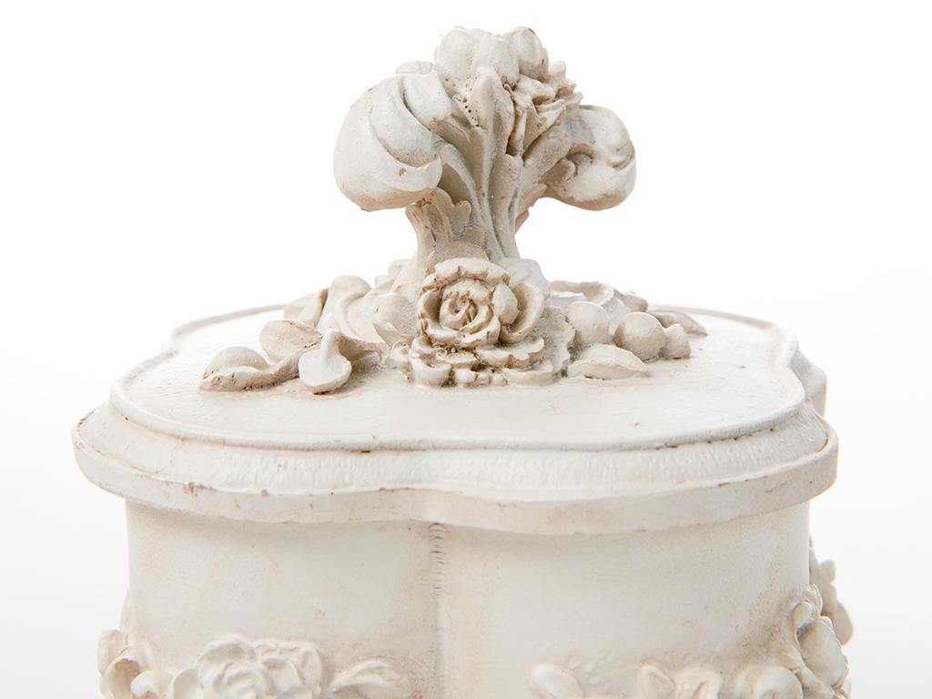 Santa Polyresin Dekoratıf Kutu 9x9x9.5 Beyaz