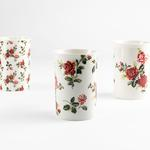 Pink Flowers New Bone 3'lü Kupa 300 Ml Beyaz