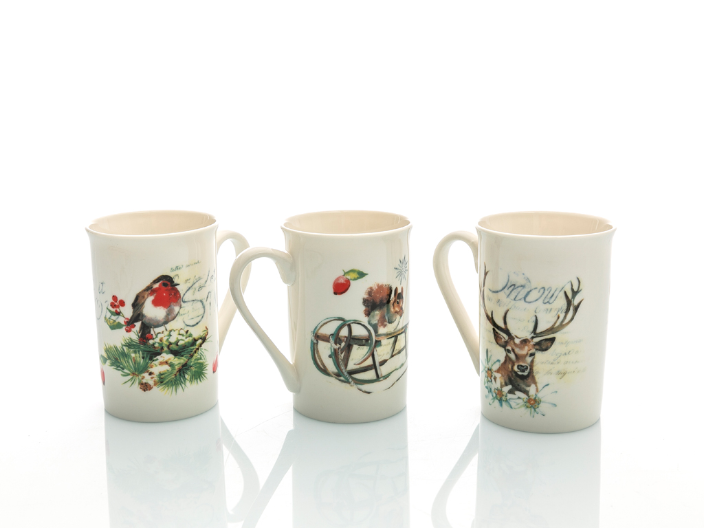 Deer And Bird New Bone 3'lü Kupa 300 Ml Beyaz
