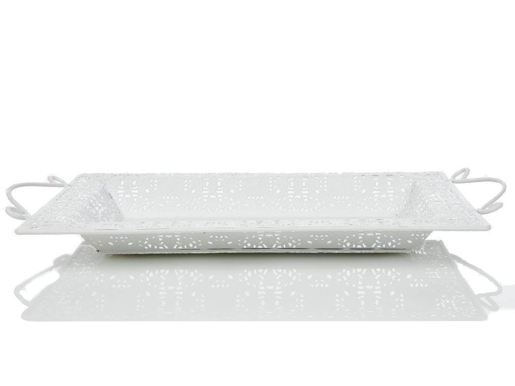 Amanda Metal Dikdörtgen Tepsı 37,5x23,5 Cm Beyaz