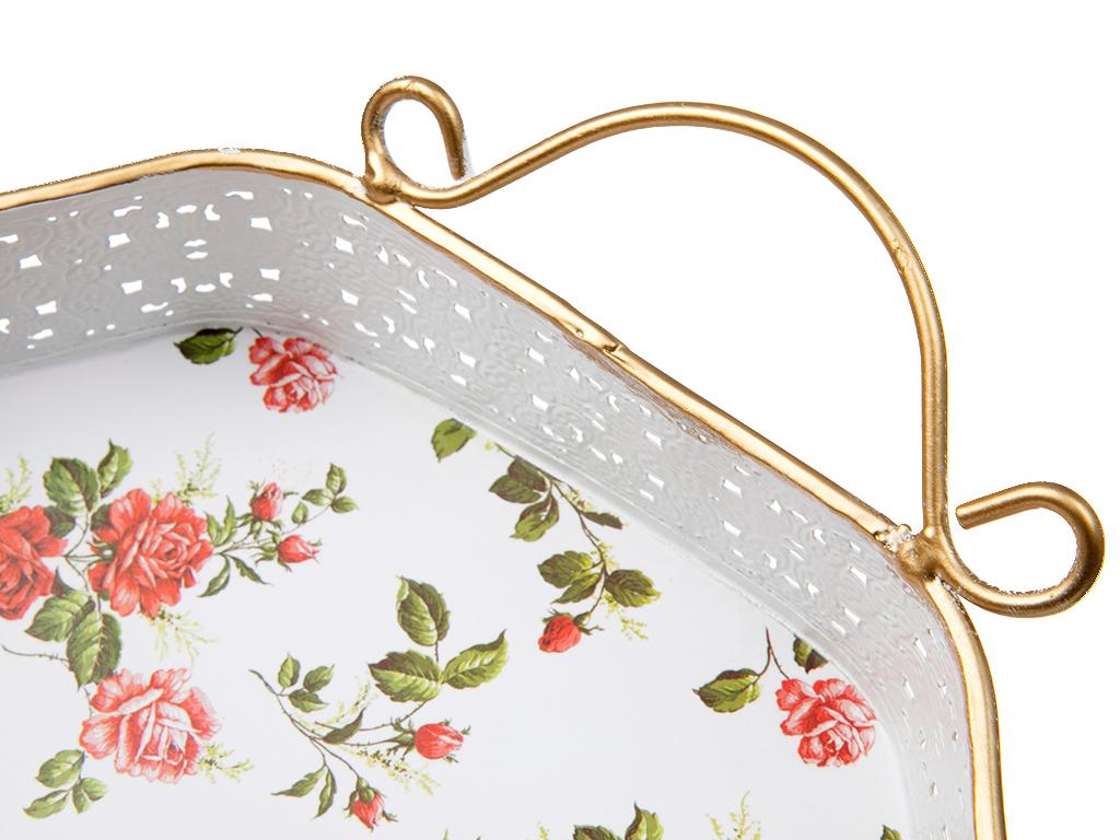 Antique Rose Metal Desenli Tepsı 27,5x26 Cm Pembe