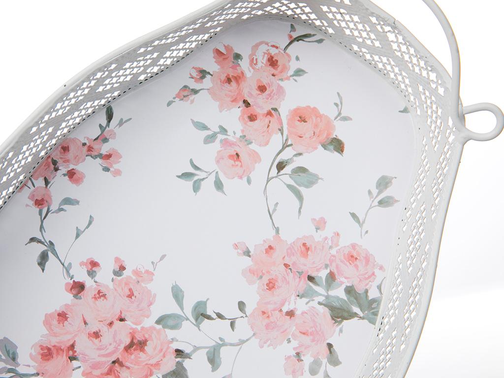 Pink Rose Metal Desenli Tepsi 27,5x26 Cm Pembe