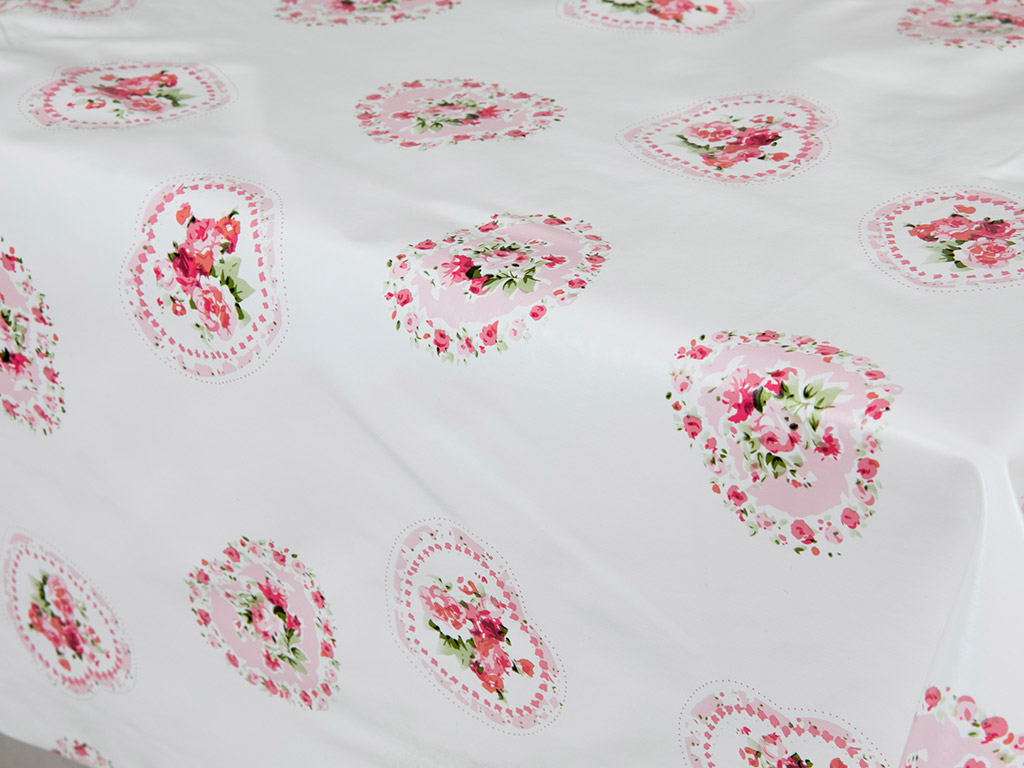 Rose Passion Pvc Masa Örtüsü 200x140 Cm Beyaz - Pembe