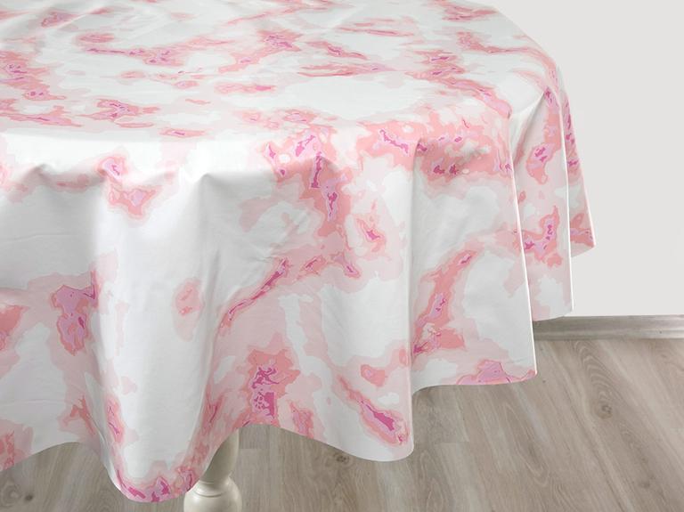 Fancy Marble Pvc Masa Örtüsü 140 Cm Pembe