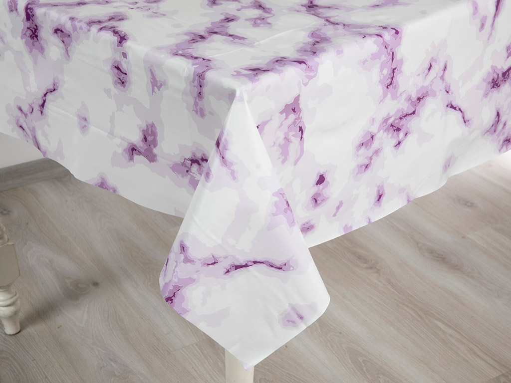 Fancy Marble Pvc Masa Örtüsü 200x140 Cm Lila