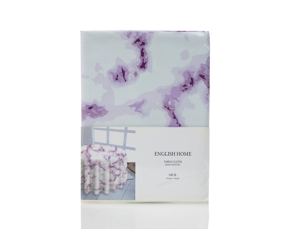 Fancy Marble Pvc Masa Örtüsü 140 Cm Lila