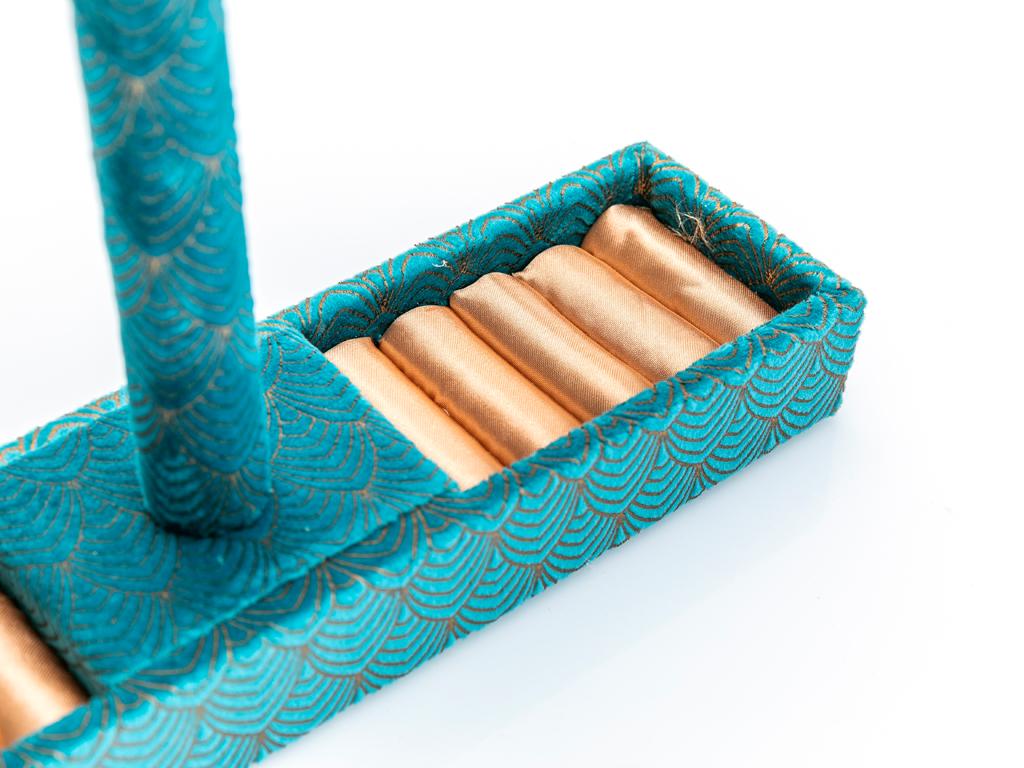 Emerald Gold Kadife Takılık 27x7x22 Cm Mavi