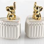 Elephant Seramik Yüzük Kutusu 6,5x7,5x11 Cm Beyaz- Altın