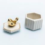 Birdy Seramik Yüzük Kutusu 7x7x8 Cm Beyaz- Altın