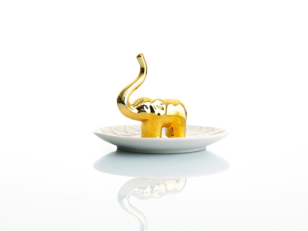 Elephant Seramik Yüzüklük 13x13x9 Cm Beyaz- Altın