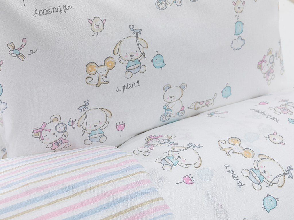 Happy Friends Pamuklu Bebe Nevresım Takımı 100x150 Cm Bej