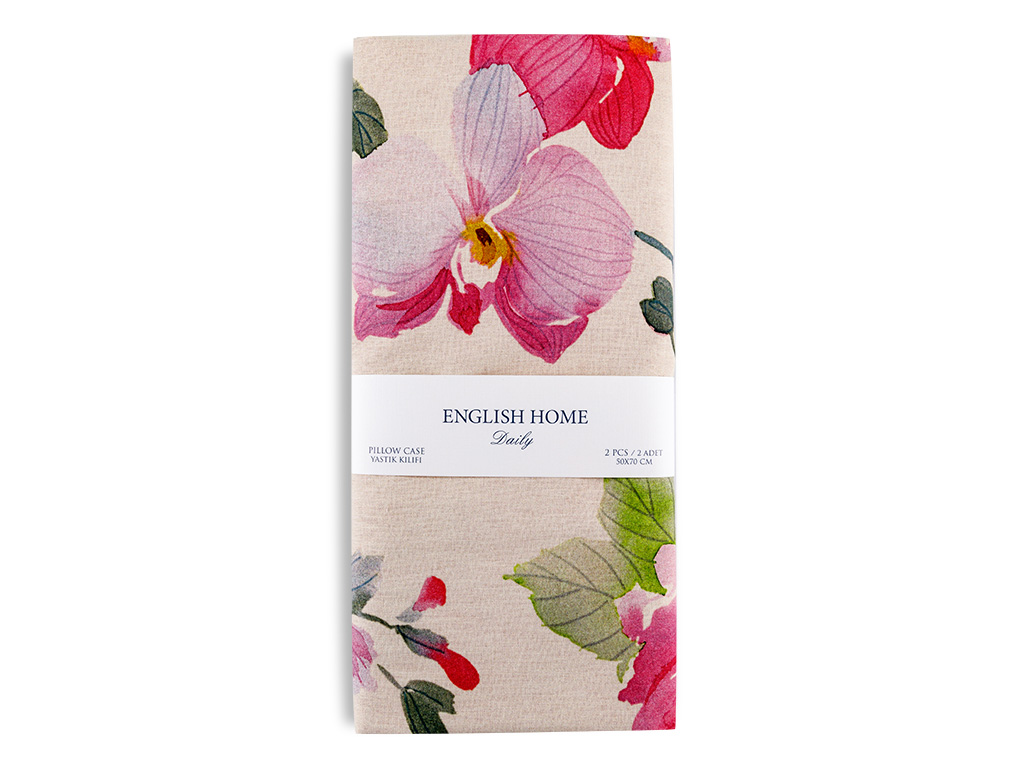 Flower Art Pamuklu 2'li Yastık Kılıfı 50x70 Cm Pembe
