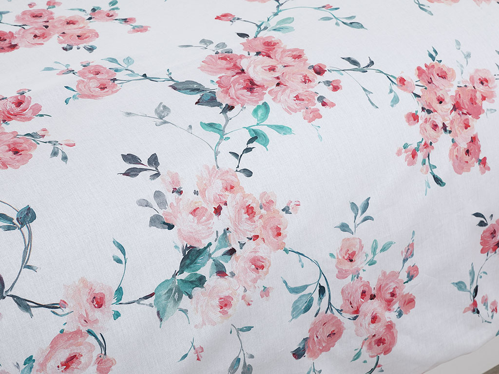 Chichi Roses Pamuklu Çift Kişilik Nevresim 200x220 Cm Pembe