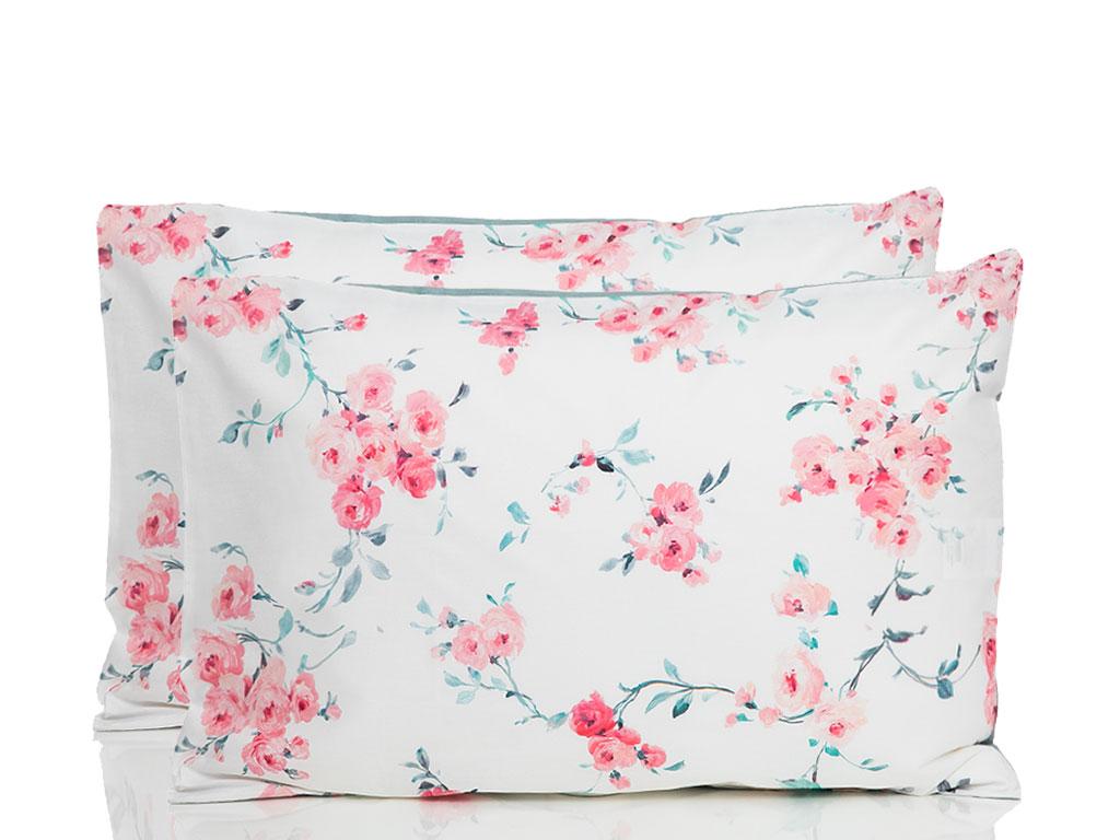 Chichi Roses Pamuklu 2'li Yastık Kılıfı 50x70 Cm Pembe