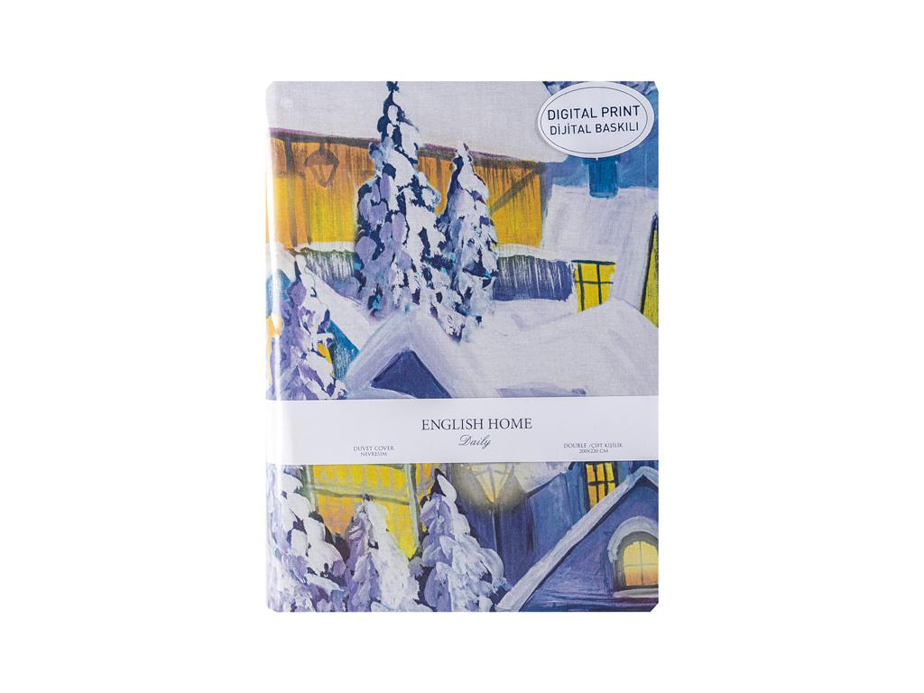 Winter Lights Pamuklu Çift Kişilik Nevresım 200x220 Cm Lacivert