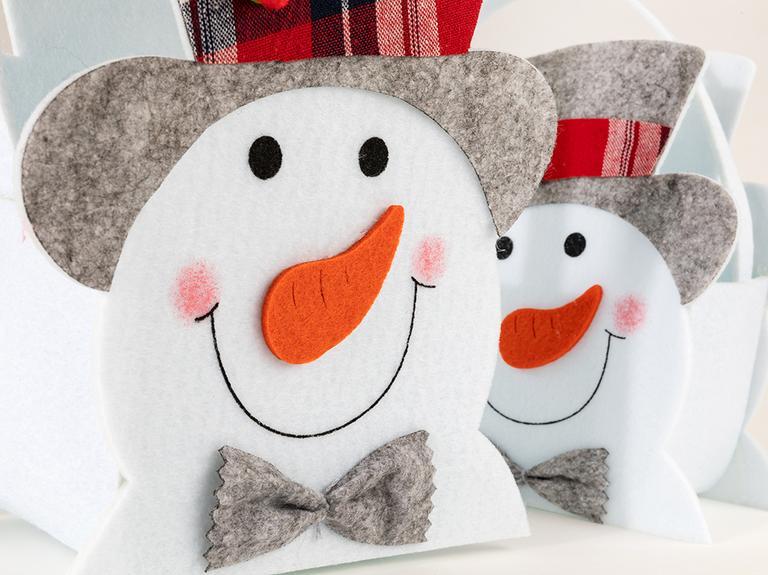 Funny Snowman Keçe 2'li Sepet 15,5x8,5x18 Cm / 19x10,5x21 Cm Beyaz