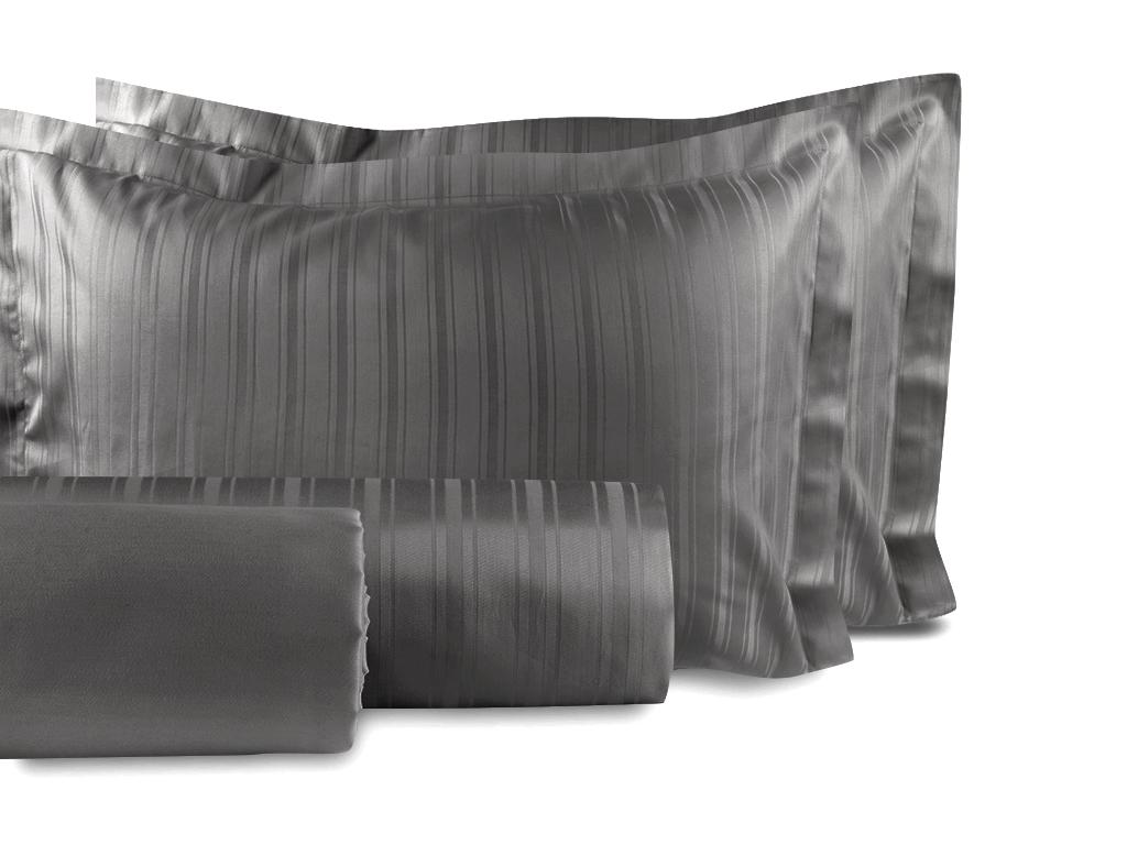 Glam Stripe Çizgili Pamuk Saten Çift Kişilik Nevresim Takımı 200x220 Cm Füme