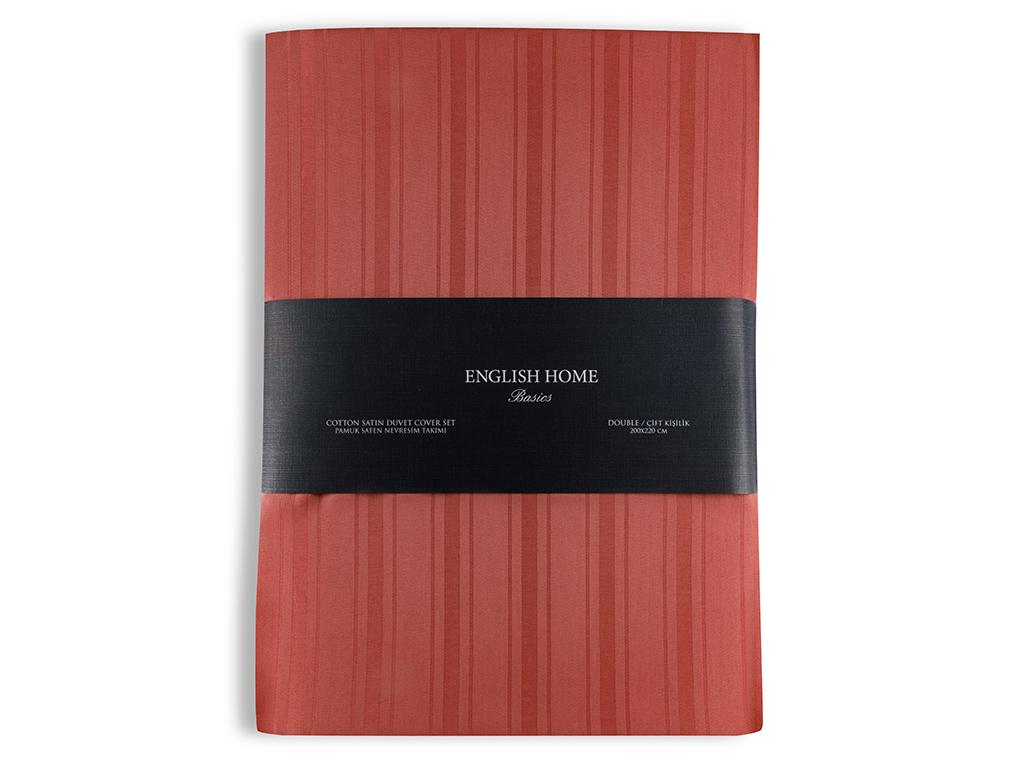 Glam Stripe Çizgili Pamuk Saten Çift Kişilik Nevresim Takımı 200x220 Cm Koyu Gül Kurusu