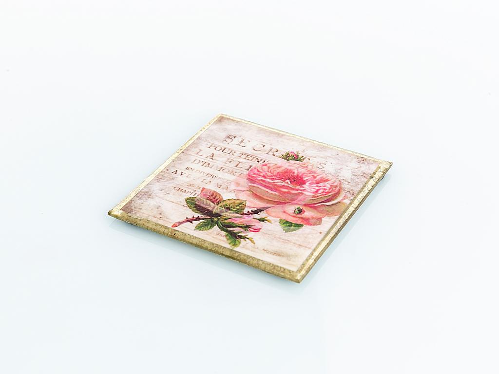 Precious Rose Cam Bardak Altlığı 11x11 Cm Pembe