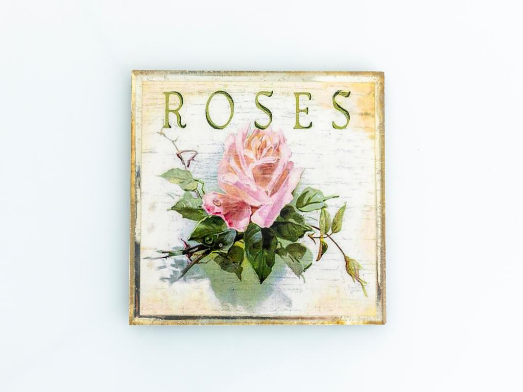 Luxury Roses Cam Bardak Altlığı 11x11 Cm Sarı