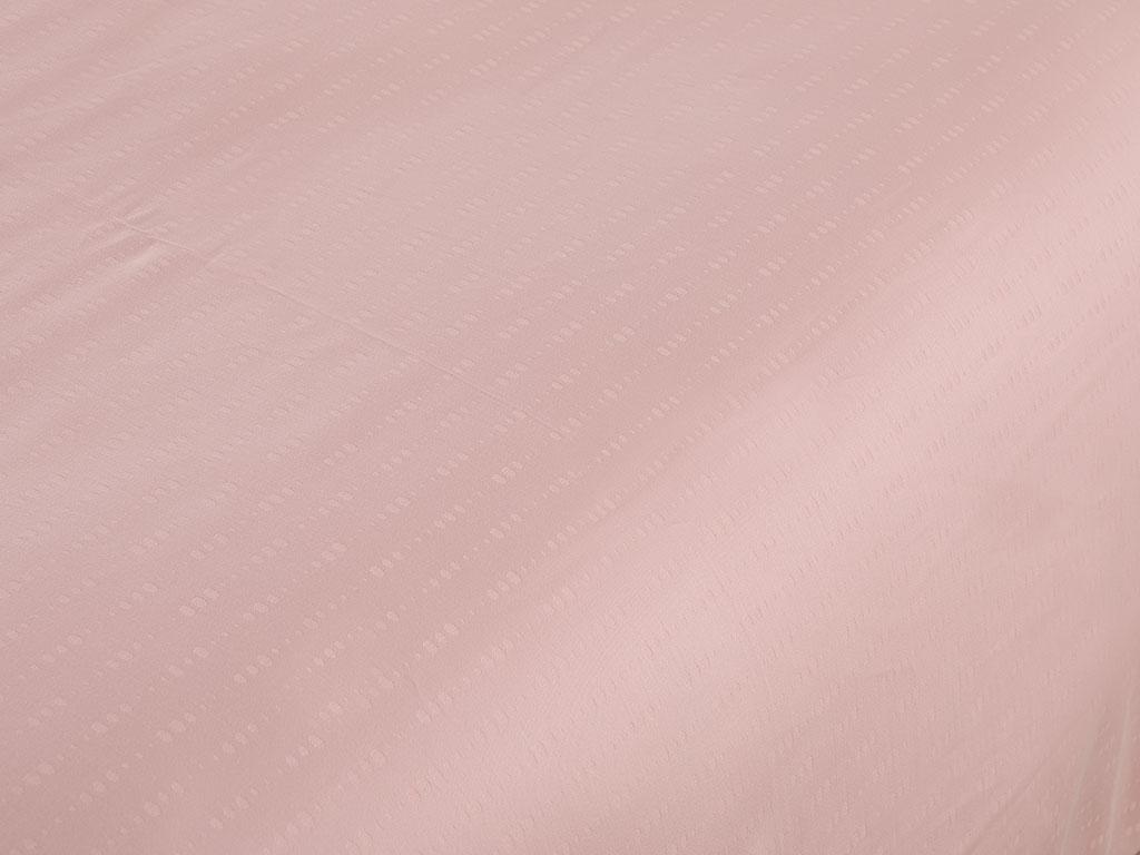Drop Stripe Jakarlı Pamuk Saten Çift Kişilik Nevresım 200x220 Cm Pembe