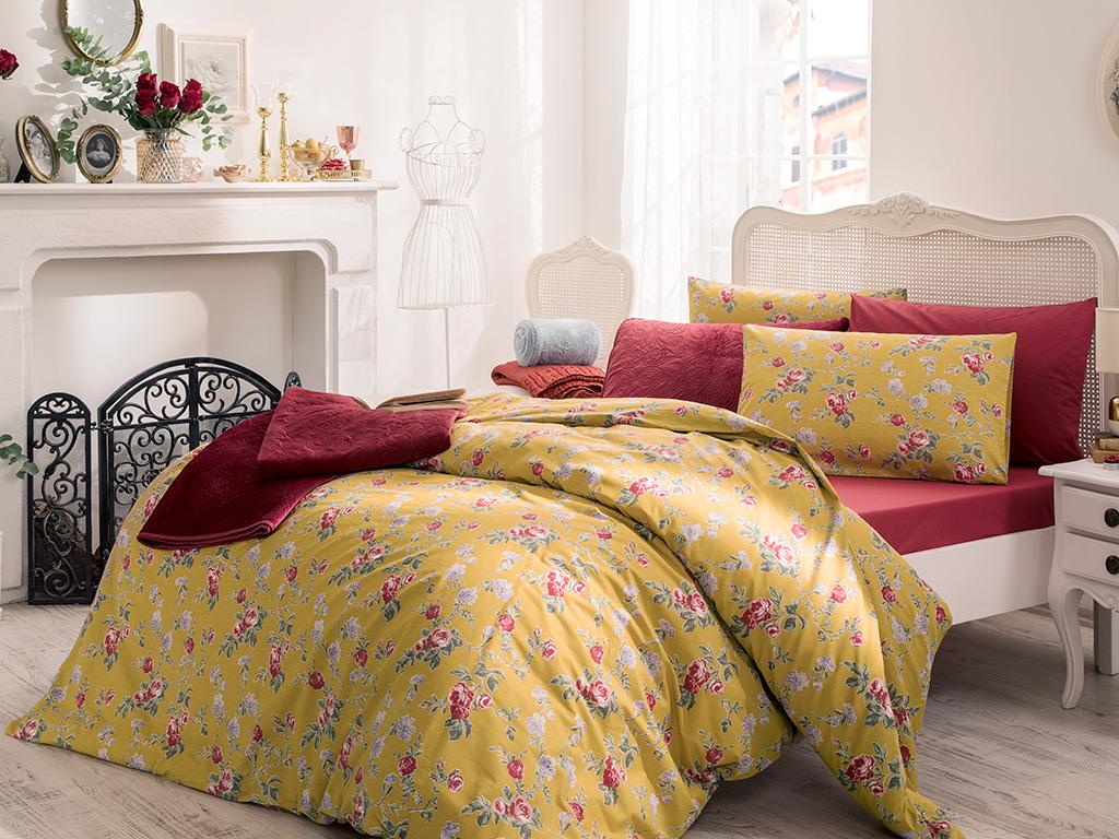 Rose Viva Pamuklu Çift Kişilik Nevresım 200x220 Cm Koyu Sarı