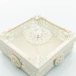 Majestic Rose Ferforje Dekoratif Kutu 13,8x13,8x7 Cm Beyaz