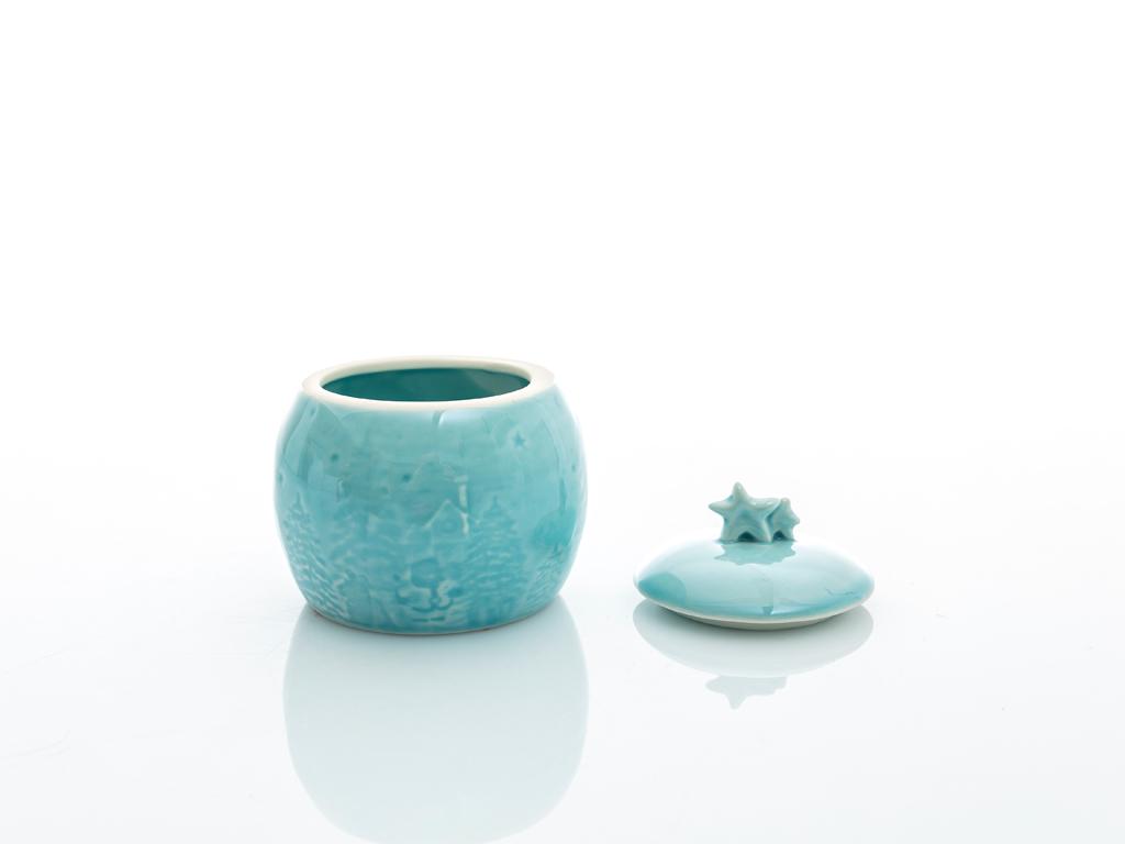 Snowland Stoneware Dekoratıf Kutu 7,6x7,6x8 Cm Mavi