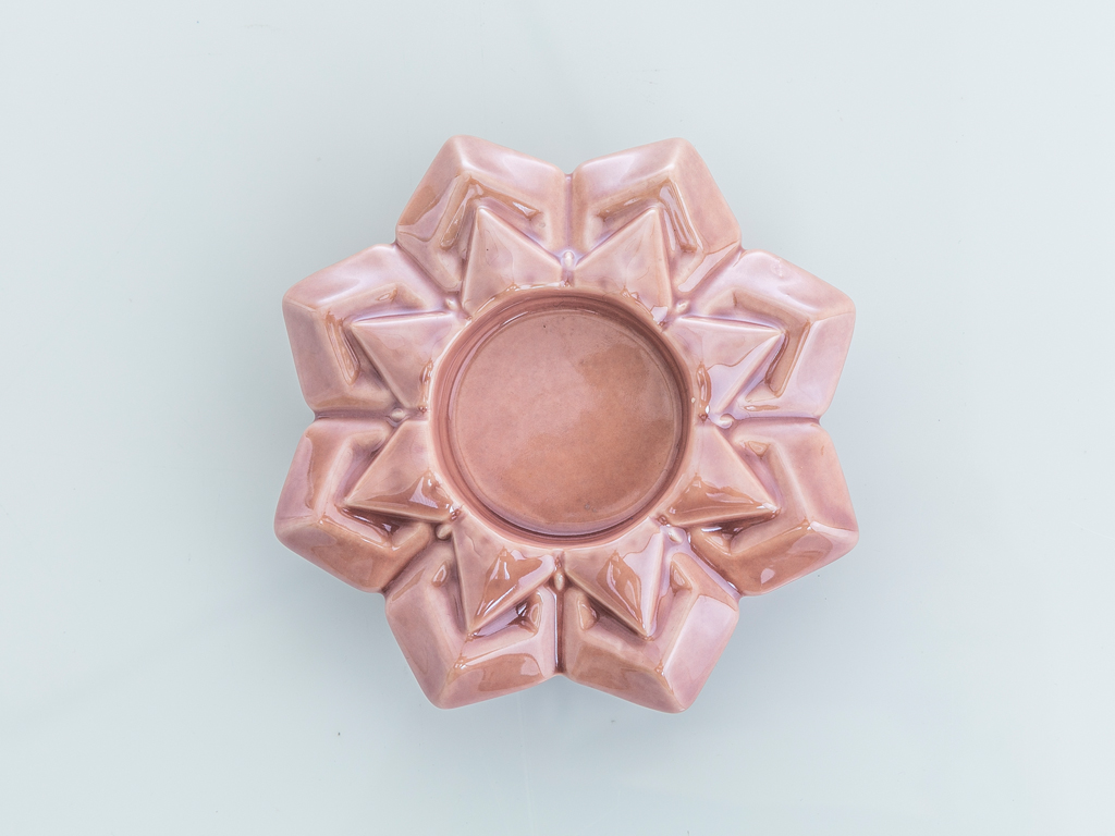 Snowflake Stoneware Mumluk 10,6x10,6x3,5 Cm Pembe