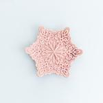 Snowflake Stoneware Dekoratif Tabak 14,4x12,8x2,2 Cm Pembe