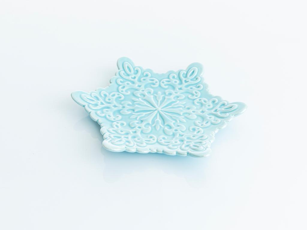 Snowflake Stoneware Dekoratıf Tabak 19,8x17,5x2,5 Cm Mavi