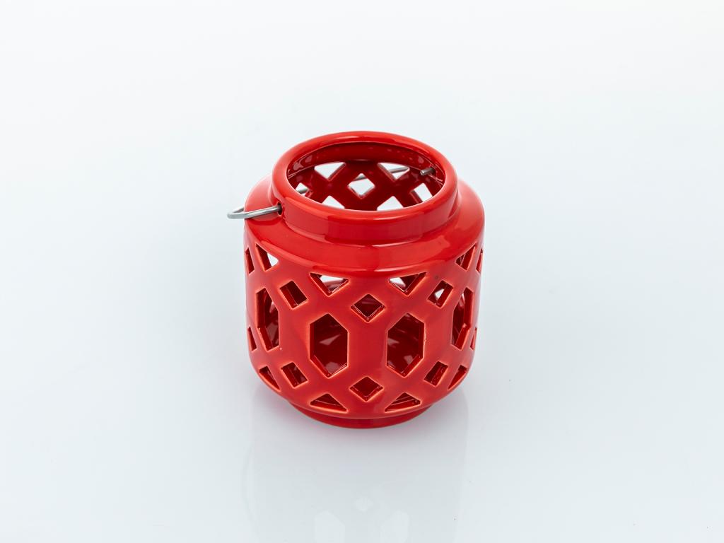 Winter Stoneware Mumluk 12x12x12 Cm Kırmızı