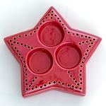 New Year Stoneware Mumluk 17,5x17x4 Cm Kırmızı