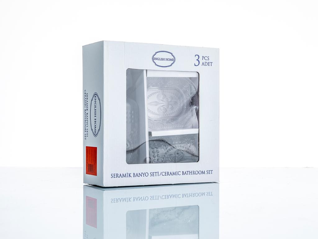 Elegance Cam 3'lü Banyo Setı 370ml+308ml+11,8x6,5x6,9 Cm Şeffaf