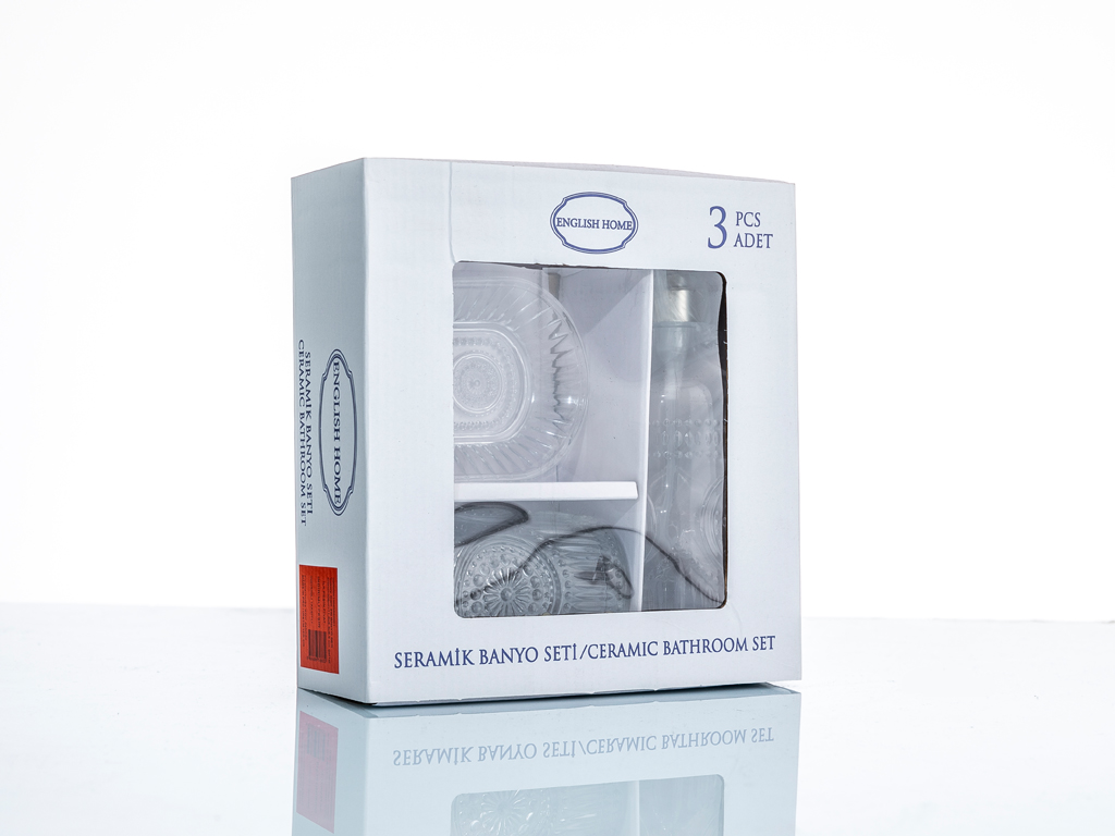 Luxury Cam 3'lü Banyo Setı 370ml+308ml+11,8x6,5x6,9 Cm Şeffaf