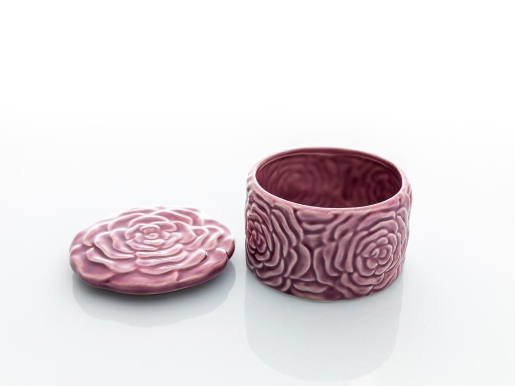 Rose Luster Stoneware Dekoratif Kutu 6,3x9,5x9,5 Cm Mor