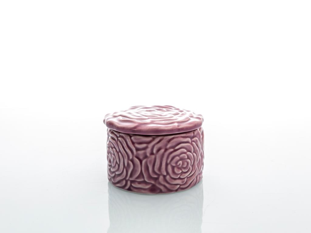 Rose Luster Stoneware Dekoratıf Kutu 6,3x9,5x9,5 Cm Mor