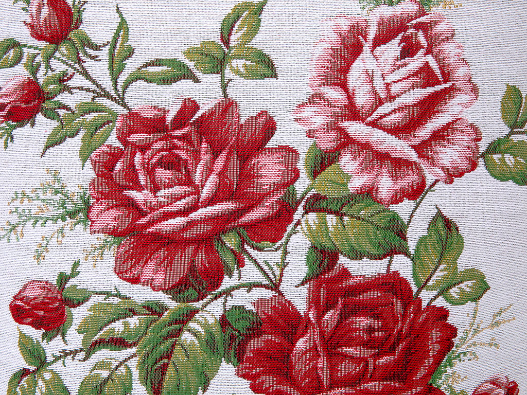 Glam Rose Goblen Kırlent 45x45 Cm Kırmızı