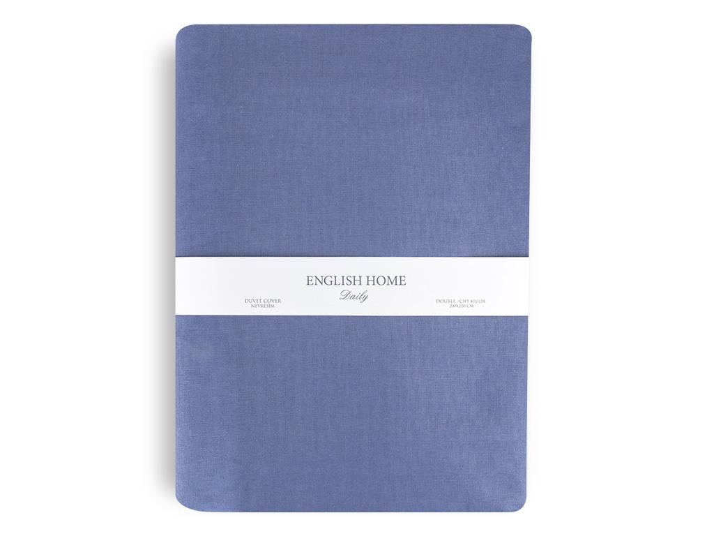 Düz Pamuklu Çift Kişilik Nevresim 200x220 Cm Koyu Mavi