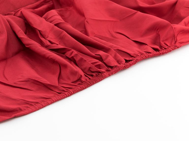 Düz Pamuklu Çift Kişilik Lastikli Çarşaf 160x200 Cm Kırmızı