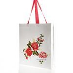 Glam Rose Lamineli Nonwoven Alışverış Çantası 48x52cm Beyaz - Pembe